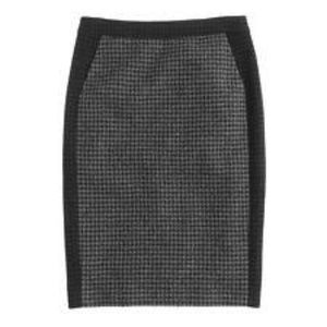 J Crew Black/Grey Wool Blend Pencil Skirt